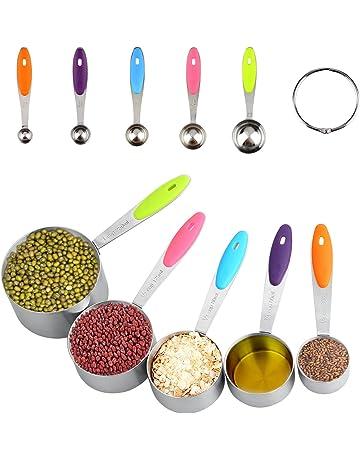 Uten 10PCS Cucharas Medidoras Herramientas de Cocina Cucharas Inoxidable de Medición Grados Cuchillo