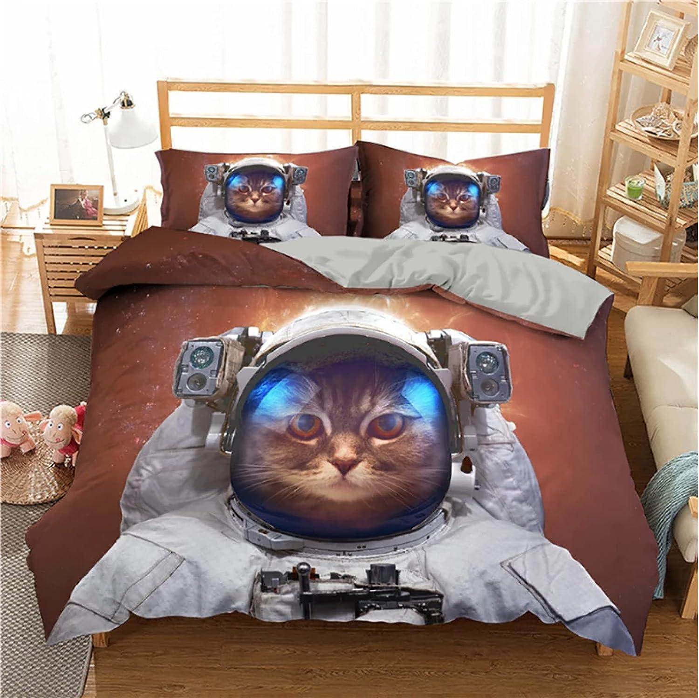 ysldtty Juego De Cama Aviation Astronaut Cute Cat Funda Nórdica Funda De Edredón Fundas De Almohada U-1900W 220CM x 240CM with 2 Pice Pillowcase 50CM x 75CM