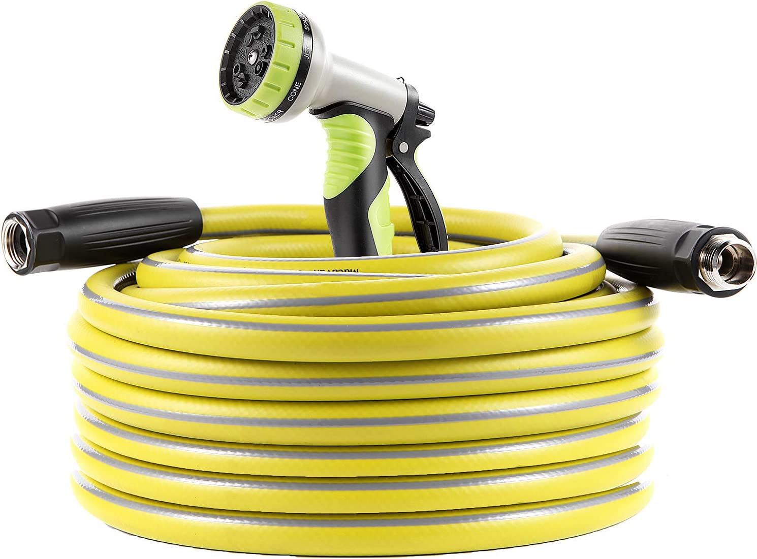 Macuvan Garden Hose 75 ft Heavy Duty-Water Hose with 9 Way Spray Nozzle and Flexible 4 Layers Hybrid-3/4'' Nickel Plated Brass Fittings-5/8'' Inner Core-Lead-Free Outdoor Durable Lightweight Pipe Set
