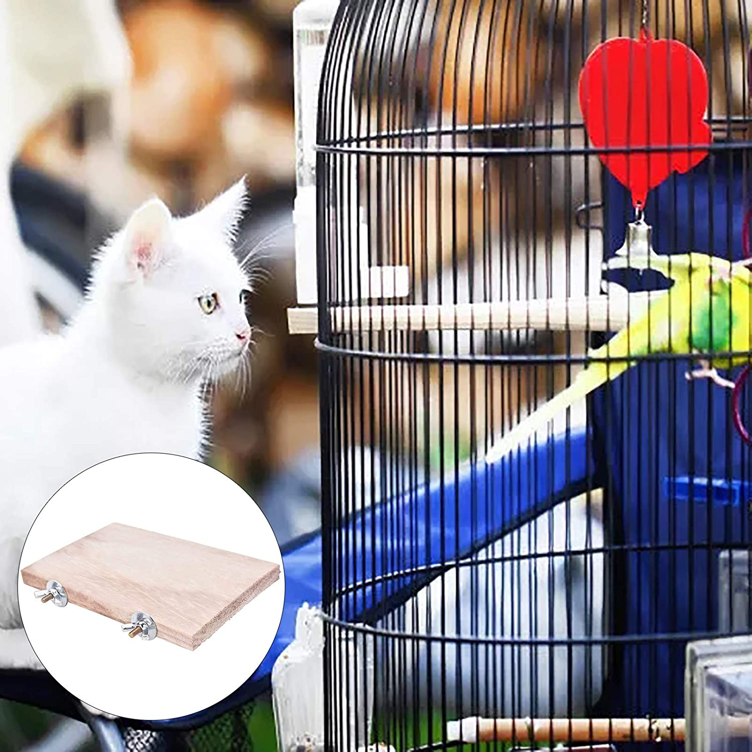 YUANYUAN 3 Pcs Rectangle Activity Platform,Wood Cage Shelf Chinchilla Perch Cage Platform Toy Rectangle Playground Cage Corner Shelf Perch Cage Platform for Small Animals Exercise Quiet Wheel