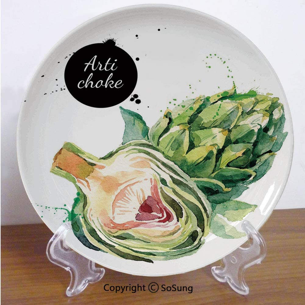"""Artichoke 6"""" Ceramic Decorative Plate,Going Green Vegetable Food Eating Health Hand Drawn Watercolor Decorative Fern Green and Dried Rose,for Living Room, Bedroom, Hallway Console Side Table Decor"""