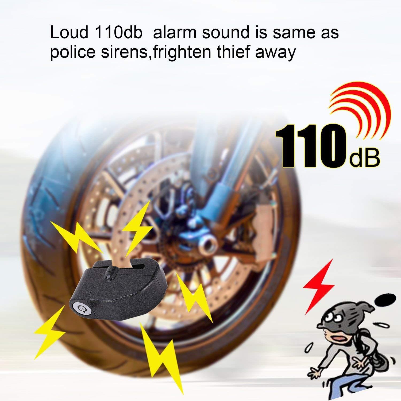 Candado Disco Negro BangShou Candado de Disco con Alarma Dispositivos Antirrobo para Motos 110DB Candados para Bicicletas 7mm Candado Disco para Motos Bicicletas