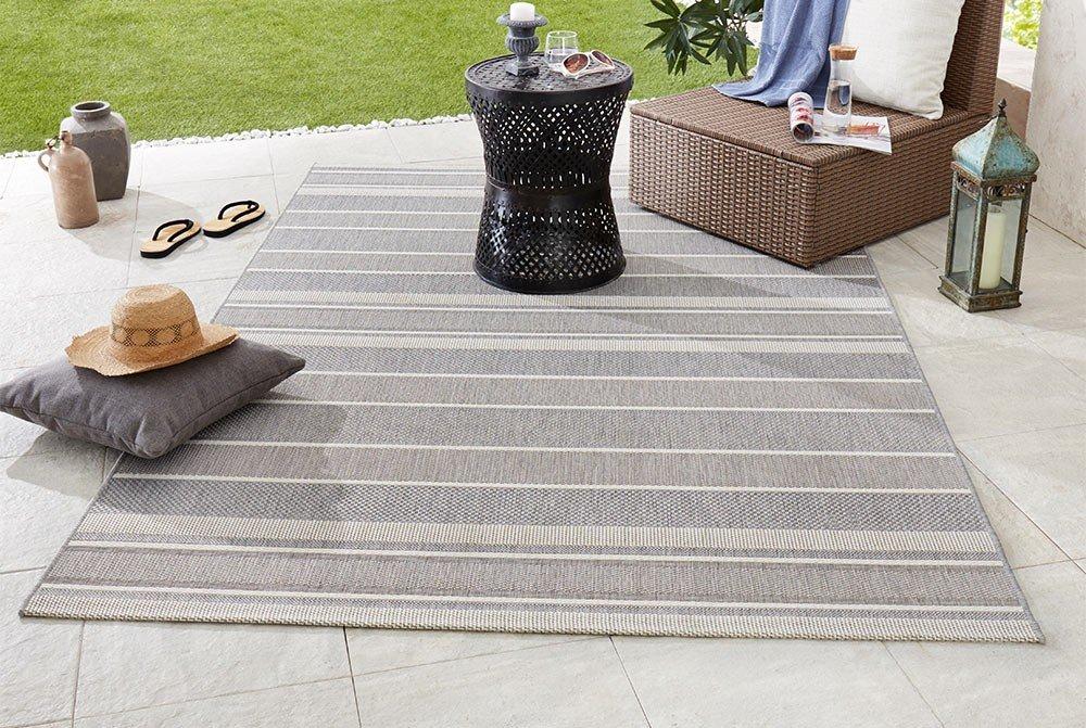 Bougari Strap In-und Outdoorteppich, Polypropylen, Grau, 290.0 x 200.0 x 0,8 cm