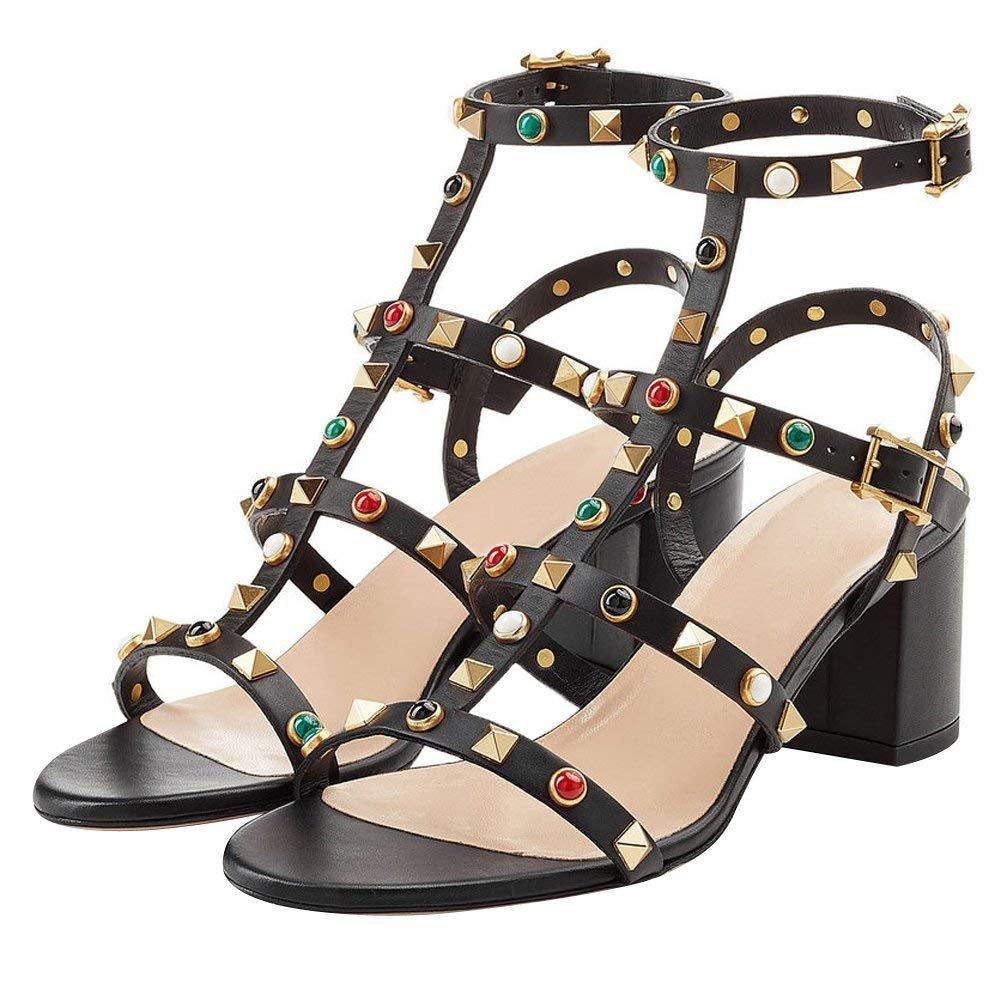 Chris-T Chunky Heels for Womens Studded Slipper Low Block Heel Sandals Open Toe Slide Studs Dress Pumps Sandals 5-14 US B07FFRFXZQ 6 B(M) US|Black M Pearl/5cm/Slingback