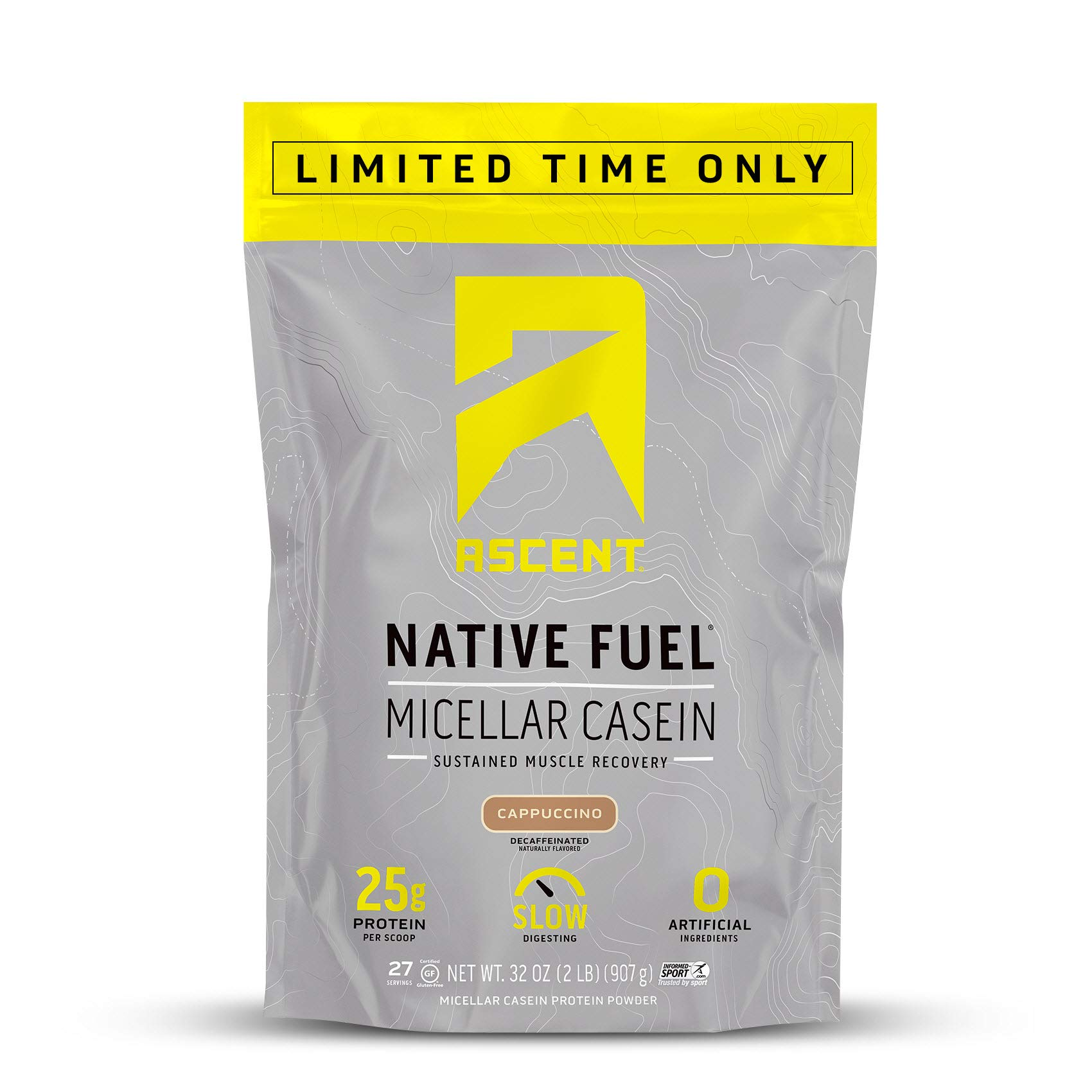 Ascent Native Fuel Micellar Casein Protein Powder - 2 Lbs - Cappuccino - Limited Time Offer