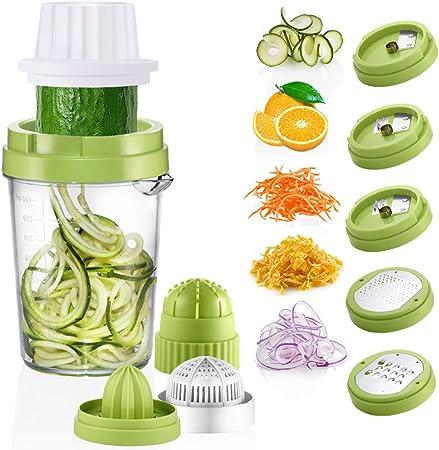 Presse agrumes et coupe légumes spirale 2 en 1 pour fruits