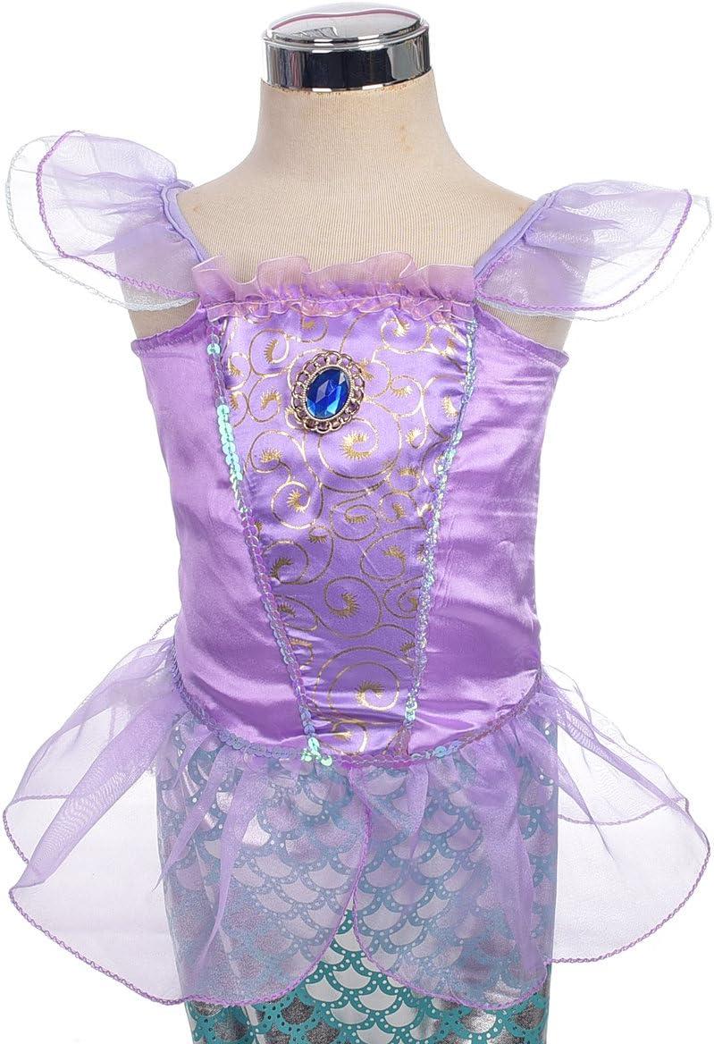 Lito Angels Filles Costumes de princesse sir/ène Robes de contes de f/ées Robe de soir/ée fantaisie Taille 2 Ans Violet