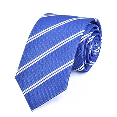 Y-WEIFENG Corbata de Rayas de Color Azul Claro Hombres de Tejido ...