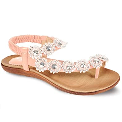 57ae454b161c9f SAPPHIRE BOUTIQUE Women s Casual Strapped Summer Shoes Ladies Diamante  Flower Comfy Sandals  Amazon.co.uk  Shoes   Bags