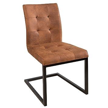 Invicta Interior Design Freischwinger Stuhl Oxford Cognac Vintage