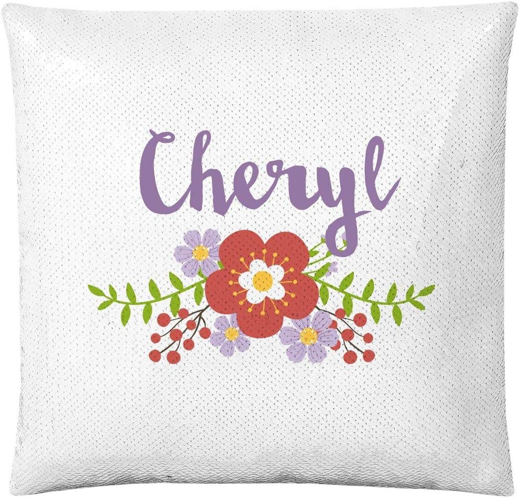 FunnyShirts.org CHERYL'S Favorite Floral Pillow: Flip Sequin Pillow Cover