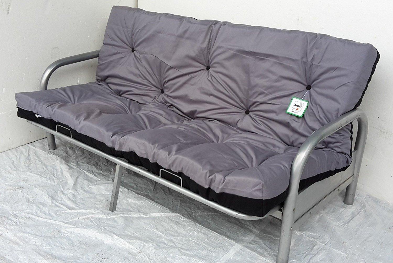 Amazon.de: Silber Finish 3-Sitzer Metall Action Futon Sofabett ...