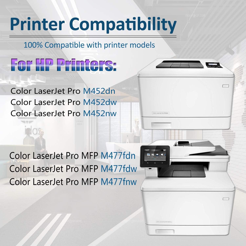 CF410X CF411X CF412X CF413X Toner Cartridge High Yield MFP M377dw M477fdn M477fdw M477fnw M452dn M452dw M452nw Printers Toner Cartridge Replacement for HP 410X 2BK+2C+2Y+2M 8 Pack