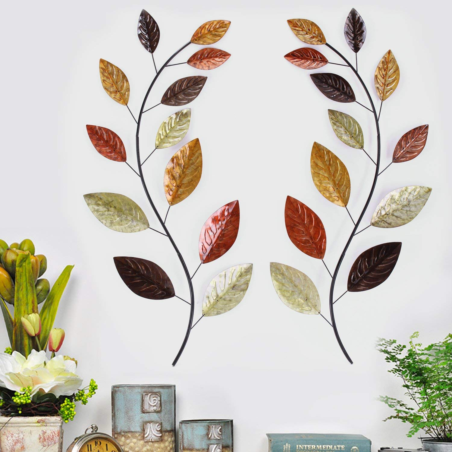Asense Tree Leaf Metal Wall Art Sculptures Home Decor Life Decoration Set of 2 by Asense