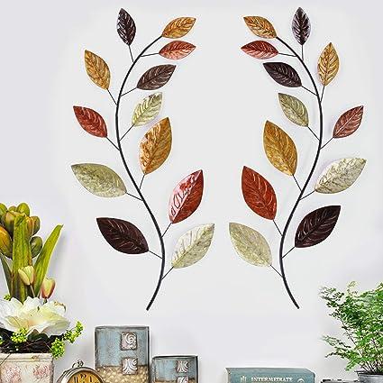 9451b2c781 Amazon.com: Asense Tree Leaf Metal Wall Art Sculptures Home Decor Life  Decoration Set of 2: Home & Kitchen