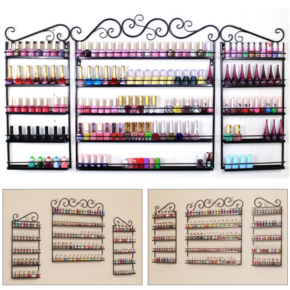 go2buy Metal Nail Polish Wall Rack 5 Tier Organizer Display Rack Black (holds over 200 bottles)