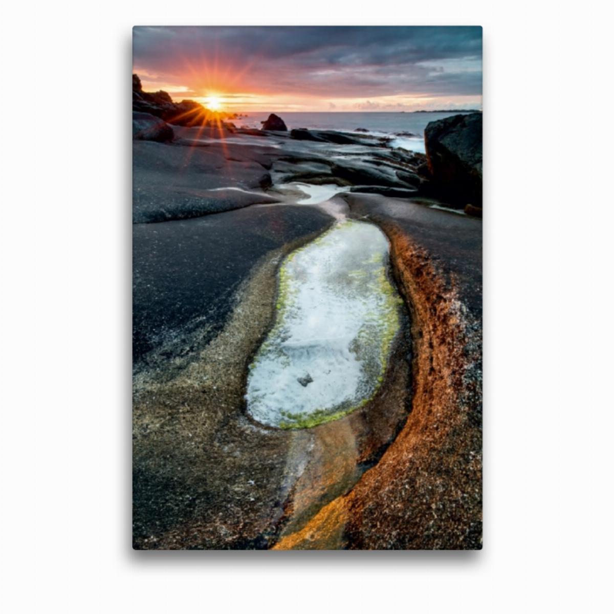 Calvendo Premium Textil-Leinwand 50 cm x x x 75 cm hoch Strand im Sonnenuntergang bei Utakleiv (Lofoten)   Wandbild, Bild auf Keilrahmen, Fertigbild auf Echter auf den Lofoten in Norwegen Orte Orte f854c9