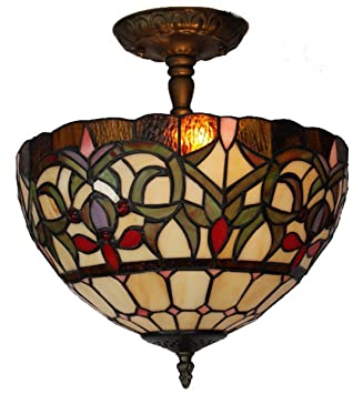 Stained Glass Ceiling Light Fixture: Amora Lighting AM1081HL12 Tiffany Style Stained Glass Ceiling Light Fixture,Lighting