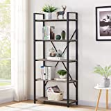 BON AUGURE Industrial Bookshelf, Etagere Bookcases and Book Shelves 5 Tier, Rustic Wood and Metal Shelving Unit (Dark…