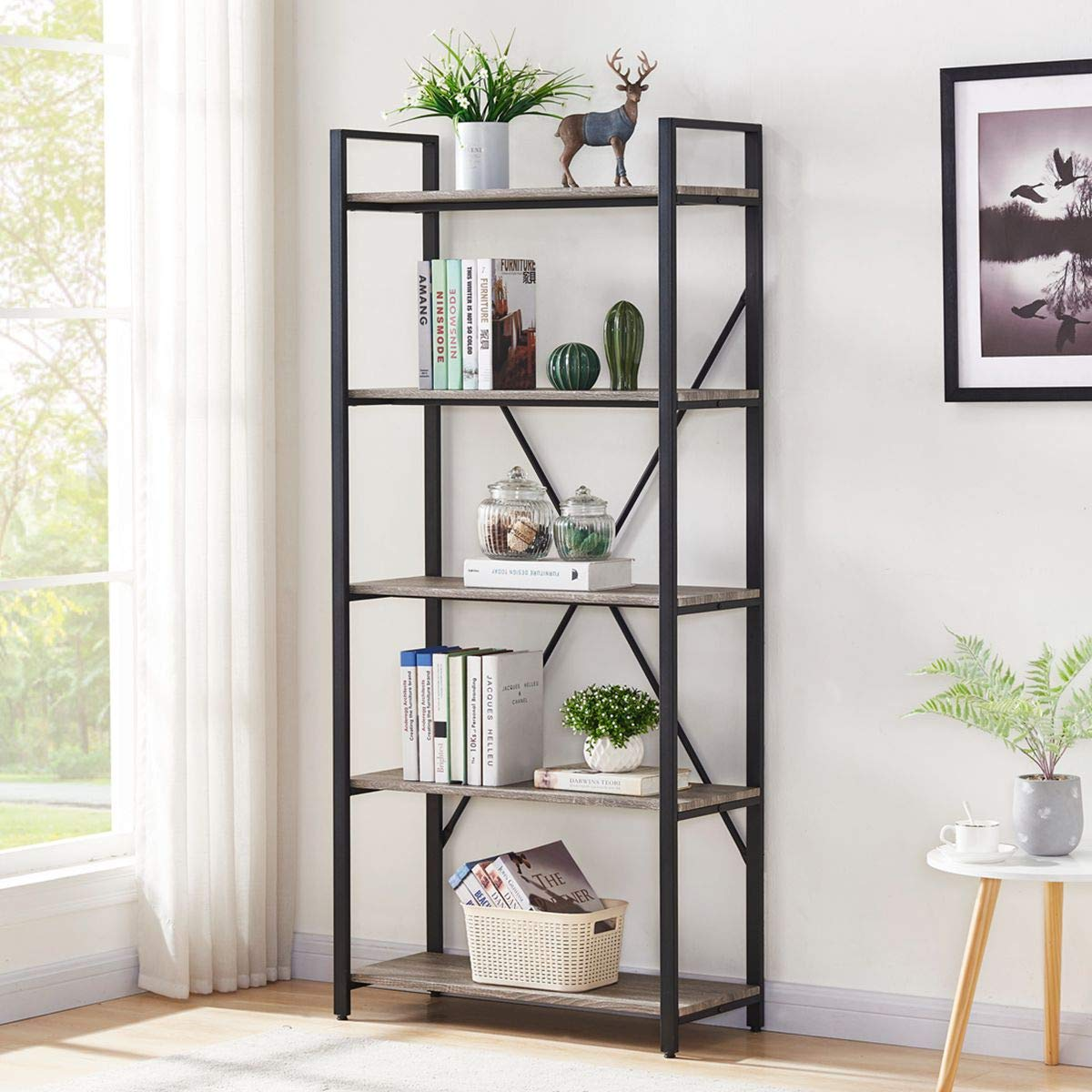 BON AUGURE Bookshelf 5 Tier Etagere Bookcase, Wood and Metal Shelving Unit, Industrial Bookshelves and Bookcases Dark Gray Oak