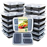 Enther Meal Prep Container 20 Pack 3 Compartments with Lids Food Storage Bento Box BPA Free/Reusable/Stackable Lunch Planning