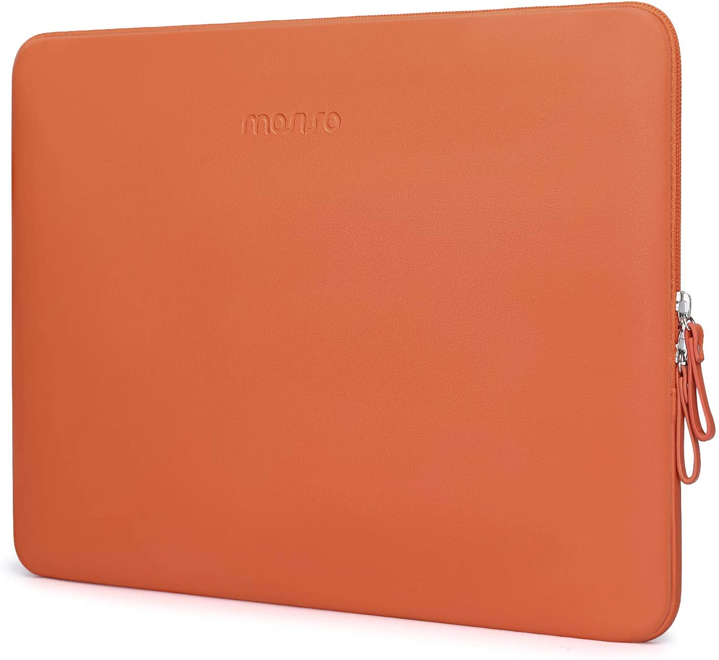 MOSISO Laptop Sleeve Compatible with 13-13.3 Inch MacBook Air/MacBook Pro Retina/2019 2018 Surface Laptop 3/2/Surface Book 2, PU Leather Super Padded Bag Waterproof Protective Case, Orange