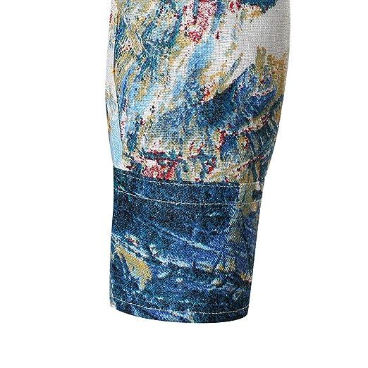 Blusa de Hombre Pringting, ♚ Absolute Personalidad Casual Otoño Casual Slim Manga Larga Camisa Impresa Blusa Superior: Amazon.es: Ropa y accesorios