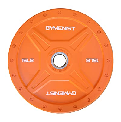GYMENIST Bumper Plates Commercial Olympic Size Heavy Duty Weight Plates