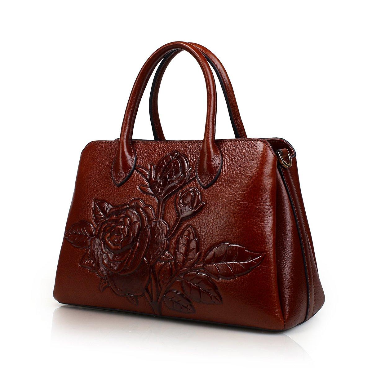 APHISON Designer Unique Embossed Floral Cowhide Leather Tote Style Ladies Top Handle Bag Handbag (Brown)