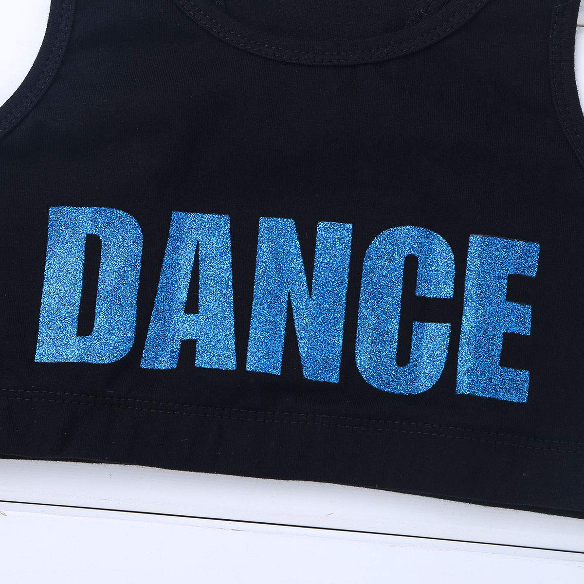 winying Kids Girls Shiny Letters Dance Printed Racer Back Dance Sports Bra Crop Top
