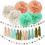 Furuix Pompones de papel decorativos para fiestas, 26 unidades, varios diseños y colores