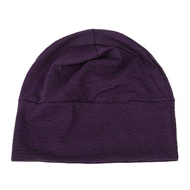 grande vente de liquidation belle couleur site professionnel Bonnet de Nuit Coton Multiusage avec Masque des Yeux Chapeau Souple Tricoté  Adulte Unisexe - Rayé Noir Violet, Taille unique