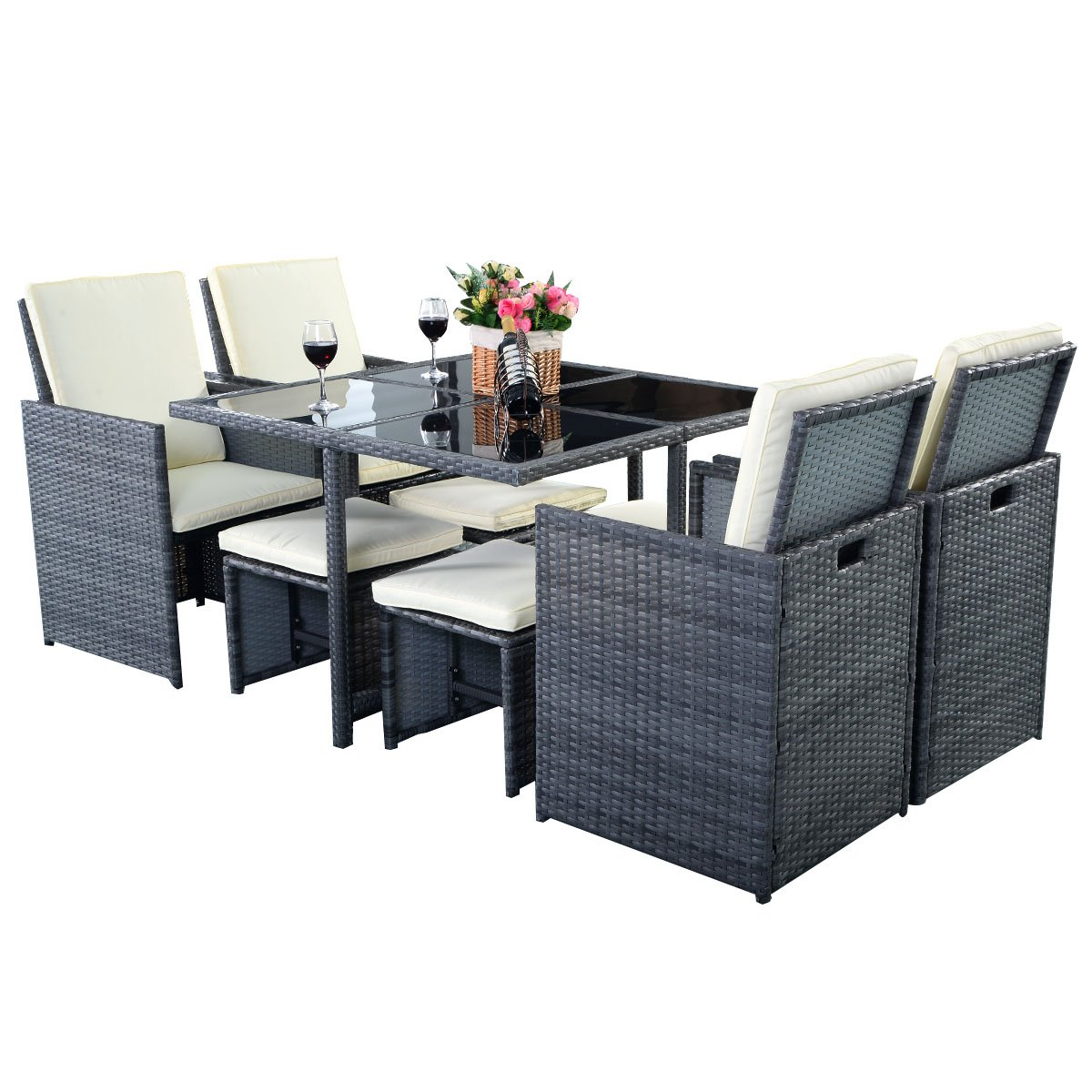 poly rattan gartenm bel sitzgarnitur lounge gartengarnitur rattan 8er set garnitur dunkel grau. Black Bedroom Furniture Sets. Home Design Ideas
