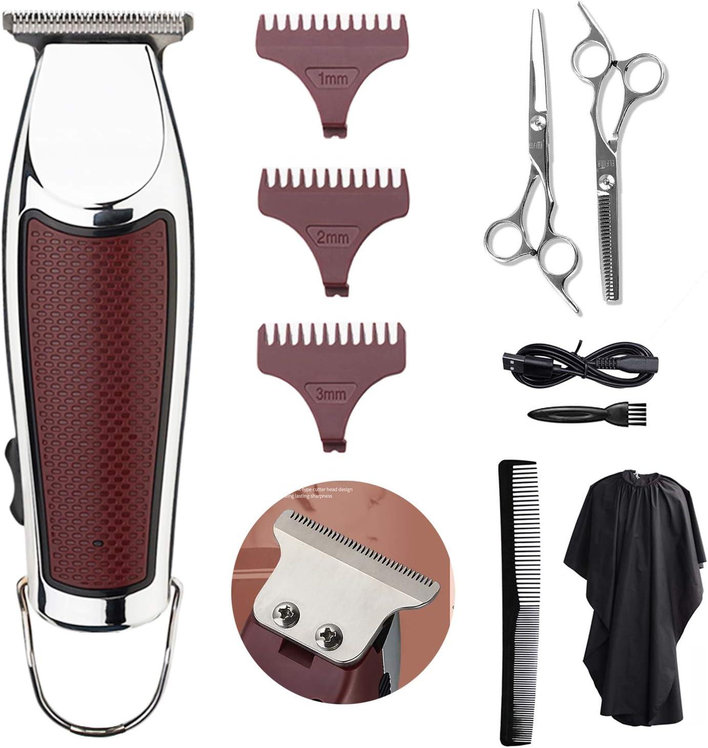 Cortapelos Profesional Hombre Cortapelo Máquina Eléctrica de Cortar Pelo Profesional, Recortador de barba para Hombres con Batería Recargable, 3 Peines