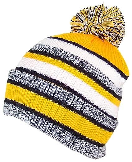 b4ae04953588d Best Winter Hats Quality Striped Variegated Cuffed Beanie W/Large Pom (L/XL)
