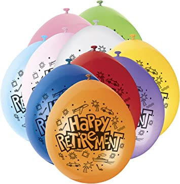 Assorted Colour Retirement Latex Balloons Pack of 10