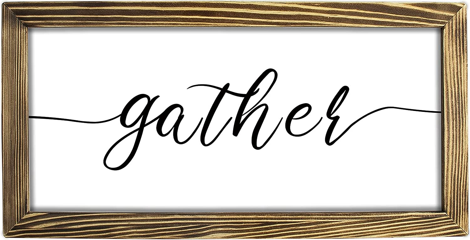 Gather Sign For Home Decor, Rustic Farmhouse Sign For Living Room, Modern Farmhouse Gather Sign Wall Decor Rustic Wall Decoration Frame Solid Wood, 16x8 Inch