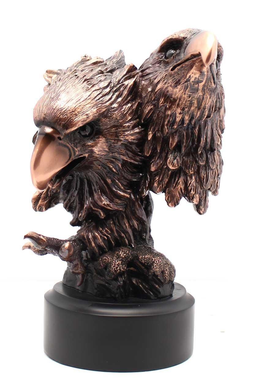 L7 Enterprises Patinated Copper Plated Two Eagles Bronze Figurine Sculpture Statue