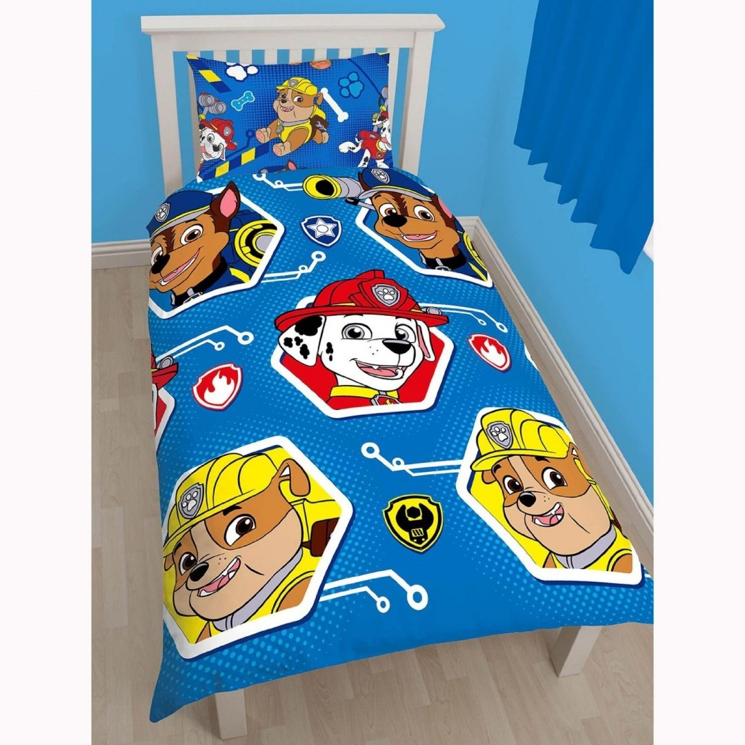 Paw Patrol Single Duvet Cover and Pillowcase Set Character World