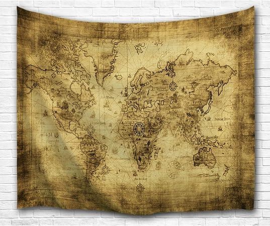 BEWAVE Mapa Mundial de Tapices de Pared, Decoración de Pared para Dormitorio, Hogar, Sala de Estar(130X153CM, Mapa de Pergamino): Amazon.es: Hogar