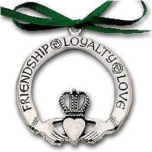 Pewter Claddagh Ornament Irish - Love Friendship & Loyalty Inspirational Message