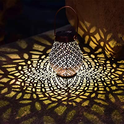 Solar Big Lantern Hanging Garden Outdoor Lights Metal Waterproof LED Table Lamp Decorative (2 Pack)