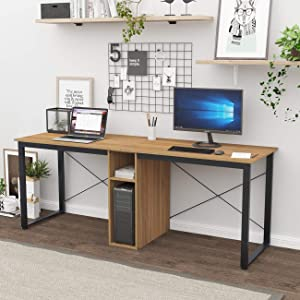 sogesfurniture 78 inches Large Double Workstation Dual Desk Home Office Desk 2-Person Computer Desk Computer desks with Storage, Oak BHUS-LD-H01-OK