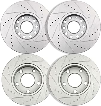 2pcs Front Left+Right Drilled Slotted Vented Disc Brake Rotors Fit Audi//VW