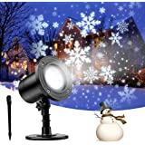 Snowfall LED Light Projector, Christmas Snowflake Rotating Projector Waterproof White Snow for Outdoor Decorations Lighting H