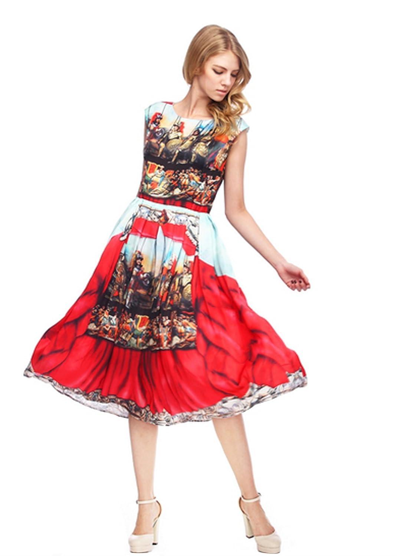 ANGATRADE Damen Kleid Mehrfarbig Mehrfarbig