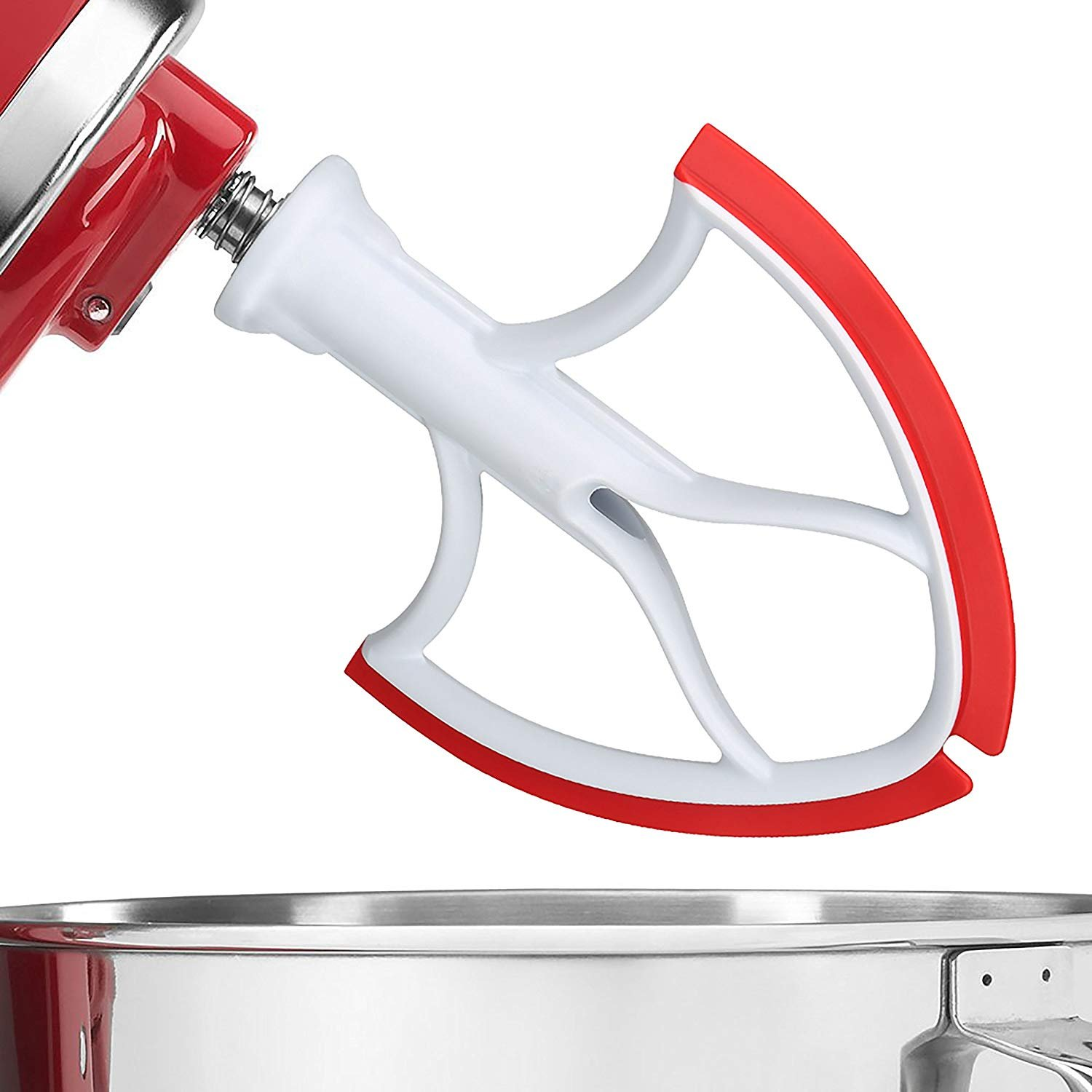 Flex Edge Beater for KitchenAid 5-Quart Bowl Lift Tilt-Head Stand Mixers,Made in the USA (red)