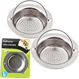 "GoProver 2PCS Kitchen Sink Drain Strainer Heavy Duty 304 Stainless Steel, Large Wide Rim 4.3"" Diameter Durable Strainer Basket"