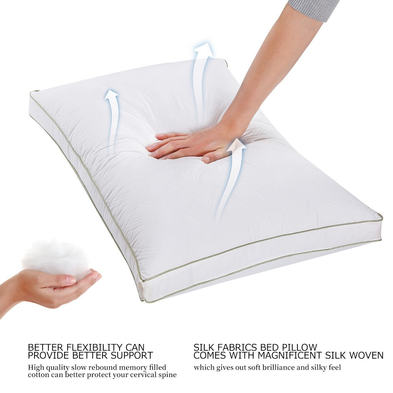 Larnn Queen Pillow for Sleeping, Hypoallergenic Bed Pillow with Dust Mite Repellent Filler for Breathable Sleeping