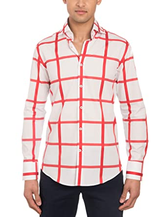 1f392797 HAWES & CURTIS Mens Curtis White & Red Large Check Slim Fit Shirt High  Collar